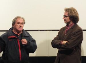 """Ignacio Agüero con Federico Rossin, curatore della rassegna """"Cile 1973-2013″ a Cinéma du Réel"""